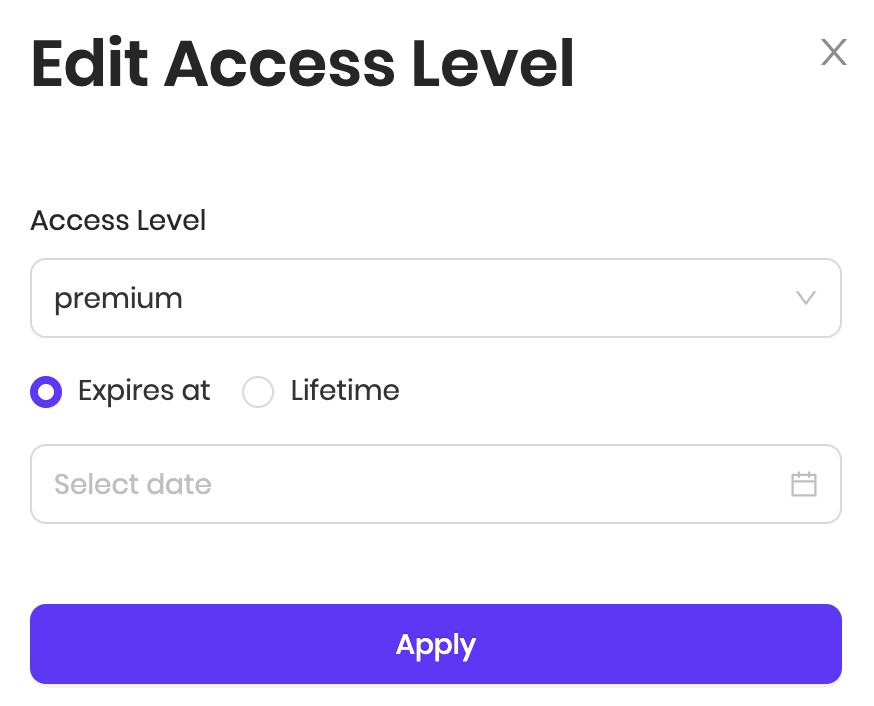 Setting customer's access level