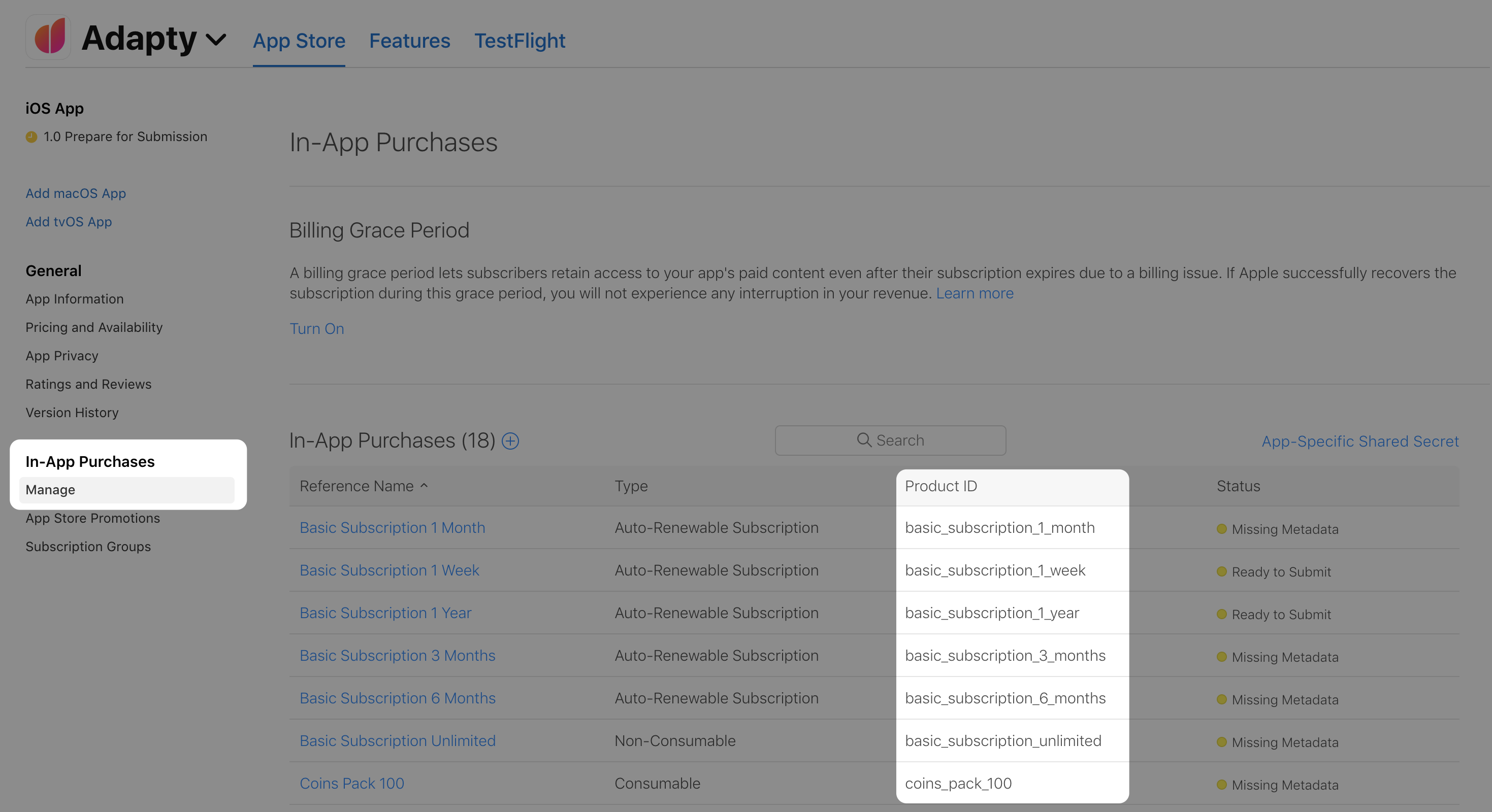 App Store product IDs