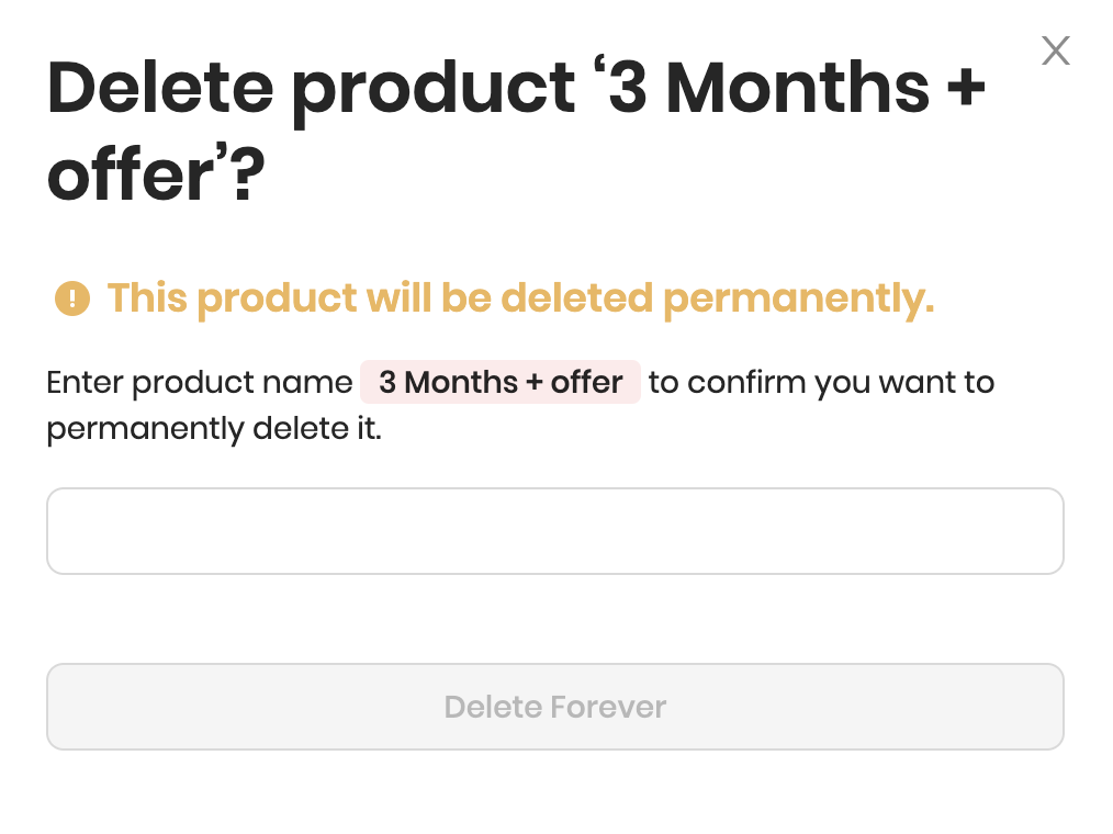 Deleting the product