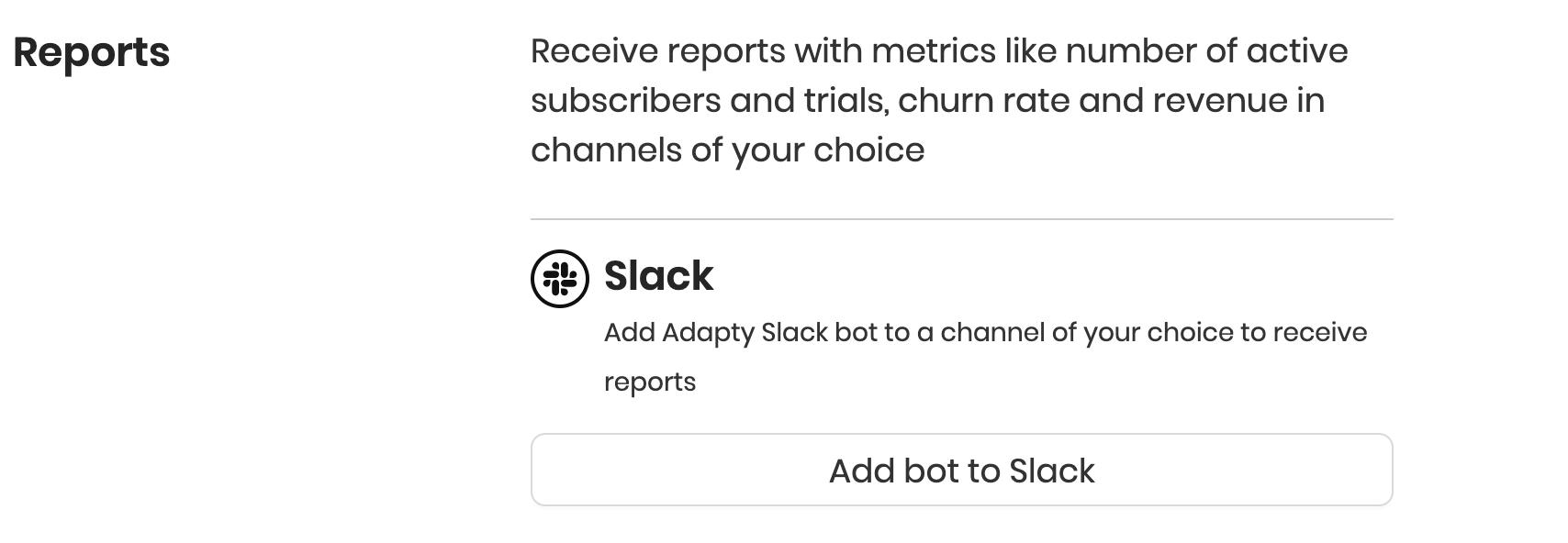 Slack reports activation