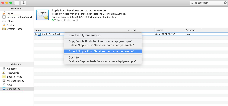 Export certificate as p12 file